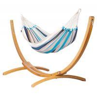 Caribeña Aqua Blue - Hamac classique simple avec support en mélèze certifié FSC™