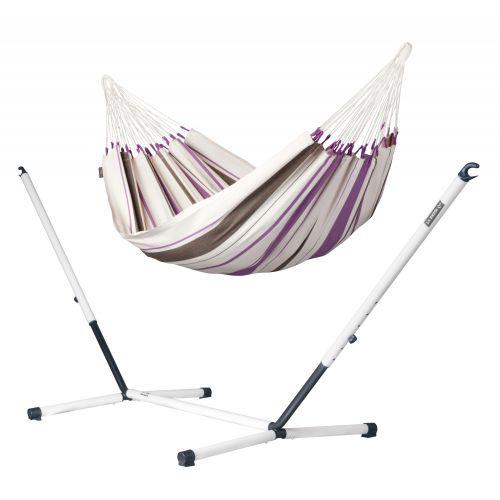 Caribeña Purple - Hamac classique simple avec support en acier revêtu par poudre