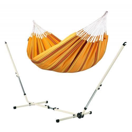 Currambera Apricot - Hamac classique double avec support en acier revêtu par poudre