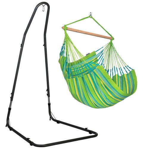 Domingo Lime - Chaise-hamac comfort avec support en acier revêtu par poudre