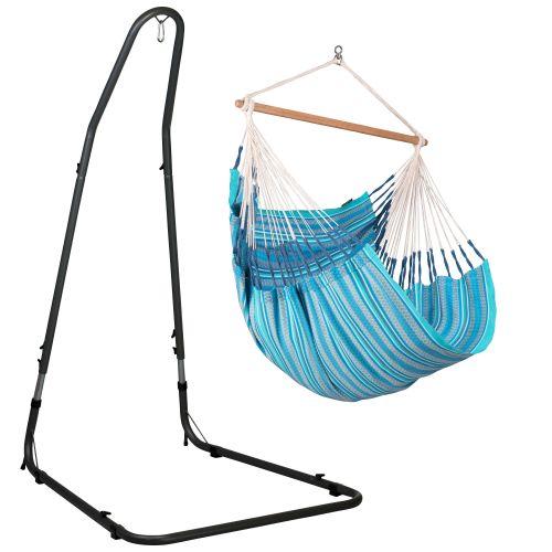 Habana Azure - Chaise-hamac comfort avec support en acier revêtu par poudre