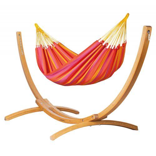 Sonrisa Mandarine - Hamac classique simple avec support en mélèze certifié FSC™